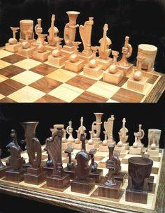 Instrumental Chess Set on etsy handmade custom themed    chess sets  hand carved. $545.00, via Etsy.