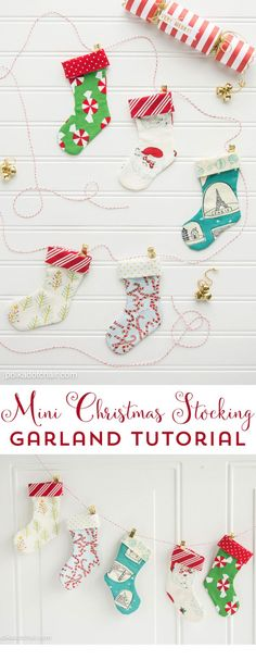 Mini Christmas Stocking Garland Tutorial Use this free sewing pattern to stitch up your own mini Christmas Stocking Garland a cute sewing project for Christmas, DIY Gift card holder. Cute Sewing Projects, Christmas Sewing Projects, Sewing Projects For Beginners, Holiday Crafts, Sewing Tips, Sewing Hacks, Sewing Tutorials, Holiday Decor, Handmade Christmas