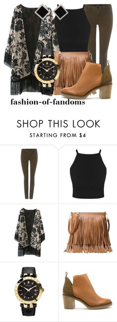 """""""Neutrals"""" by fofandoms ❤ liked on Polyvore featuring J Brand, Versace, Miista and Yvel"""