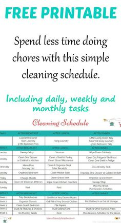 This simple cleaning schedule makes household chores a breeze. Including daily, weekly and monthly chore tasks!