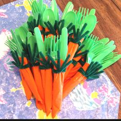 Carrot cutlery for Emma's Spring Garden birthday party!