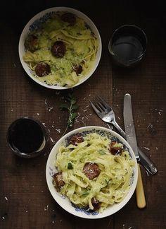 Winter pasta with chorizo