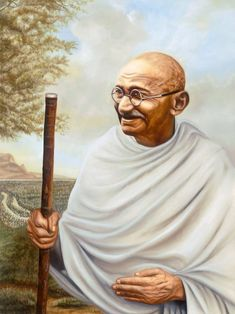 """MAHATMA GANDHI - He was an Indian activist who was the leader of Indian independence movement against the British rule. Order this painting today for your school and make students meet this eminent personalilty. Mahatma Gandhi Biography, Mahatma Gandhi Photos, Gandhi Quotes, Mahtma Gandhi, People Change Quotes, Quotes Wolf, Quotes Quotes, Life Quotes, Freedom Fighters Of India"