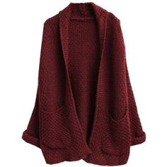 Oversize Loose Knitted Sweater Batwing Sleeve Cardigan (9.03 CHF) ❤ liked on Polyvore featuring tops, cardigans, outerwear, sweaters, jackets, loose fit tops, loose tops, red cardigan, oversized cardigans and cardigan top