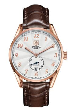 TAG Heuer 'Carrera Heritage' Automatic Rose Gold Watch