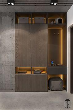 Grey Modern Industrial Apartment Interiors - Home Decor Wardrobe Door Designs, Wardrobe Design Bedroom, Bedroom Bed Design, Bedroom Furniture Design, Modern Wardrobe, Bedroom Designs, Modern Bedroom, Furniture Ideas, Industrial Apartment
