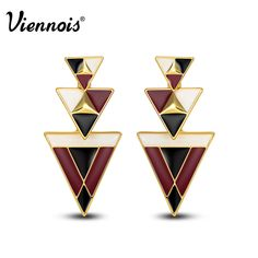 Viennois new modern black & gold triangles dangle stud earrings women jewelry #Viennois #DropDangle