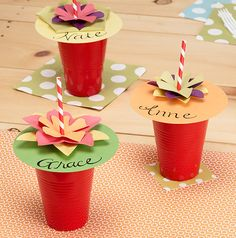 Summer cup covers... So they don't get mixed up, and helps keep the bugs out! :) Genius! summer crafts, keep bugs away, birthday parties, summer parties, outdoor parties, parti idea, paper cups, kid parties, party drinks