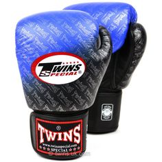FBGV-TW1 Twins Black-Blue Colour Fade Boxing Gloves