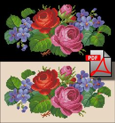 Two roses and violets Miniature cross stitch pattern small floral berlin woolwork PDF file flower embroidery handbag petit needlework chart Wool Embroidery, Embroidery Patterns, Cross Stitch Patterns, Flower Embroidery, Roses And Violets, Two Roses, Cross Stitch Rose, Cross Stitch Flowers, Victorian Cross Stitch