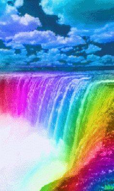 Rainbow Waterfall - What does it mean Rainbows Beautiful Waterfalls, Beautiful Landscapes, Rainbow Art, Rainbow Colors, Rainbow Garden, Turtleback Falls, Rainbow Falls Trail, Gif Bonito, Rainbow Waterfall