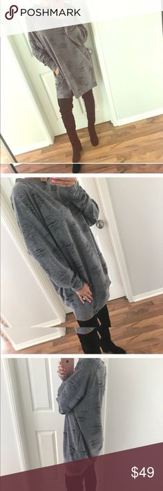 Grey Distressed Tee Dress Tee shirt Dress in dark grey. Super comfortable, cute & trendy. Price firm, thx! I have pink as well.....🌸🌸🌸🌸 Tops