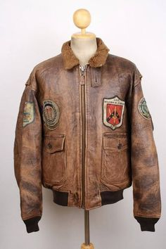 AVIREX G-1 US NAVY 'Flying Tigers 14th Air Force' Leather Flight Jacket Large