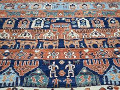 """Buy 9'10""""x13'9"""" Tribal And Geometric Pictorial Design Hand Knotted Rug  #rug #rugstore #rugsale #arearug #rugcleaning #rugwash #rugshopping #rugrepair #carpetcleaning"""