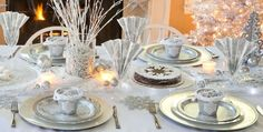 Shining Season Party Supplies #1. Do you like all this silver for your table?  Plates and chargers are round!