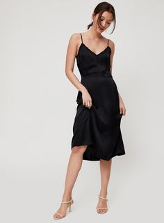 Your skin is cheering rn. This is a midi-length, lingerie-inspired dress made with a silky-soft, lustrous fabric from Japan. Ruffle Trim, Ruffle Dress, Nice Dresses, Formal Dresses, Summer Lookbook, Japanese Fabric, Fitted Bodice, Night Gown, Dress Making