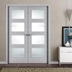 Sanrafael Lisa Glazed Double Fire Door - L62VA4 Oak Frosted Stain Grain Betulla Prefinished. #contemporarydoubledoors #glassdoublefiredoors #internalglazedfiredoors