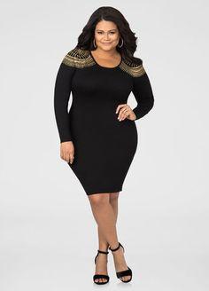 711488f285a Stud Shoulder Bodycon Sweater Dress Stud Shoulder Bodycon Sweater Dress  Plus Size Fall Outfit
