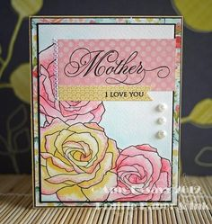 "Beautiful card with one of my favorite ""Fifth Ave Florals"" rose from Stampin Up.  If you like it get it-reties in June."