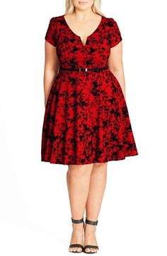 Free shipping and returns on City Chic Rose Beauty Belted Fit & Flare Dress (Plus Size) at Nordstrom.com. A supple stretch-knit dress in a graphic floral print offers nonstop charm with gently puffed cap sleeves, a deeply notched scoop neckline and a swingy skirt. A slender belt at the fitted waist adds slimming polish.