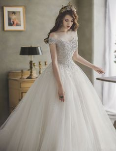 This princess-inspired ball gown from J Sposa featuring sophisticated jewel embellishments is making us swoon! : This princess-inspired ball gown from J Sposa featuring sophisticated jewel embellishments is making us swoon! Princess Wedding Dresses, Dream Wedding Dresses, Bridal Dresses, Wedding Gowns, Princess Ball Gowns, Modest Wedding, Tulle Wedding, Lace Weddings, Pretty Dresses