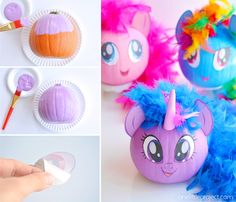 These no-carve My Little Pony pumpkins are SO EASY! Seriously, you paint the pumpkin, peel off the cute little printable faces and add a dollar store feather boa as the hair. So simple! (And best use of a feather boa, ever! Halloween Kids, Halloween Pumpkins, Halloween Crafts, Halloween Stuff, Happy Halloween, Halloween Costumes, Book Character Pumpkins, My Little Pony Costume, My Little Pony Hair