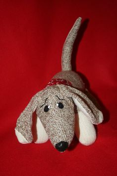 Handmade Rockford /Fox River Mills Sock Monkey DACHSHUND PUPPY DOG!    Sock Monkey and Mans best friend!    This little canine was handmade by me