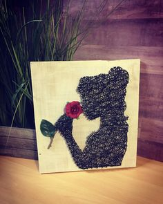 String art . D String . Belle . Rose