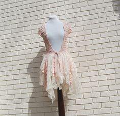 Fairy Woodland Vest, Pink, Crochet, Shabby, Tattered, Boho, Hippie, Gypsy, Eco Earth Friendly, Upcycled Clothing