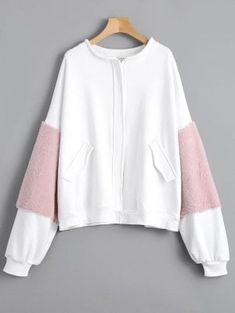 Faux Fur Embellished Faux Pockets Zippered Jacket - White L