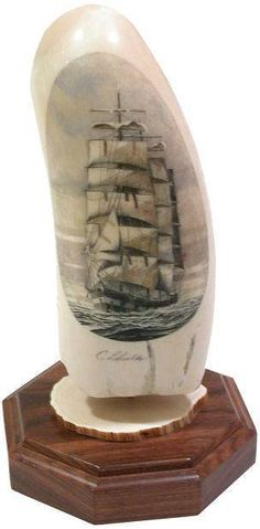 Antique Faux Scrimshaw Whale/walrus Tooth-horn Engraving,whaler Indian Off Tahit Maritime