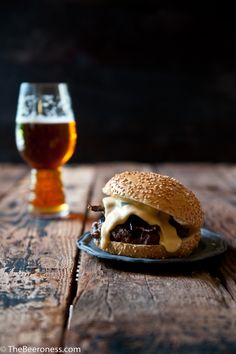 Jalapeno Beer Cheese Burger with Beer Candied Bacon