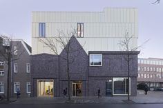 Completed in 2017 in Groningen, The Netherlands. Images by Gerard van Beek. In the renewed, extensive and earthquake-proof Prince Claus Conservatory all courses are brought together under one roof: the Jazz department and the. Adaptive Reuse, Building Design, Netherlands, Architecture Design, Brick, This Is Us, Multi Story Building, Exterior, House Styles