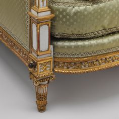 Armchair (bergère en cabriolet), 1788  Jean-Baptiste-Claude Sené (French, 1748–1803) Carved, painted, and gilded walnut