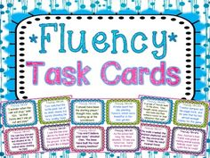 Fluency Task Cards { Short stories for Oral Fluency Reading Practice } 32 Fluency Task Cards with varied sentence types to help your students practice their oral reading fluency! Perfect small group, whole group, or independent center fluency activity. Fluency Practice, Reading Practice, Reading Skills, Teaching Reading, Guided Reading, Reading Strategies, Reading Fluency Activities, Reading Help, Reading Groups