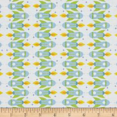 Space Age Rocket Ships White from @fabricdotcom  Designed by Jamie Wood for Clothworks, this cotton print is perfect for quilting, apparel and home decor accents.  Colors include white, green, yellow, orange and shades of blue.
