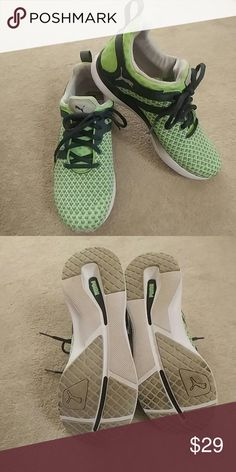 Women's Puma Sneakers LIKE NEW Women's Puma Sneakers LIKE NEW worn maybe twice but are a little snug. Cool mint green color with gray Puma Shoes Athletic Shoes