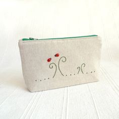 Ladybird Linen Canvas Zipper Pouch with Hand by ImpetuousHeart, $16.00
