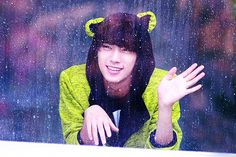 Gongchan enjoying the rain. ^-^