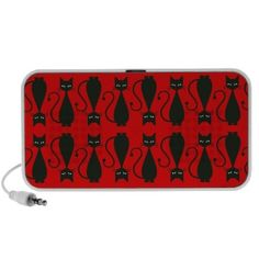 #Red and #Black #Goth #Cat #Pattern #Travel #Music #Speakers $33.70