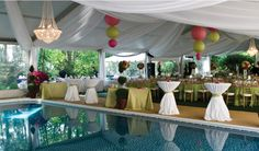 Poolside wedding with Clearspan Tent Draping  Photo by MATT PORATH  www.apresparty.com