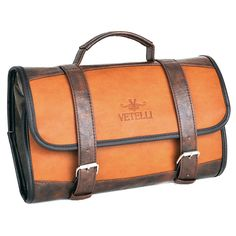 This leather toiletry bag features 4 internal pockets and can be conveniently rolled up when you're on the move, or used as a hanging toiletry bag when you're in a hotel. #vetelli