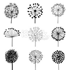 Set of Dandalions Royalty Free Stock Vector Art Illustration