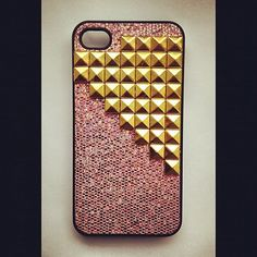 Glitter iPhone 4 and 5 Studded Case by studnyc on Etsy, $18.00. I really want an iPhone 4s with a case like this!
