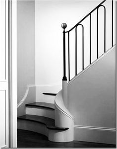 Sleek, minimalist, elegant staircase with curved termination, iron railing. Iron Stair Railing, Stair Handrail, Staircase Railings, Stairways, Banisters, Metal Spindles, Metal Handrails, White Staircase, Iron Staircase