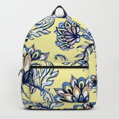 yellow and blue batik Backpack by huntleigh Pretty Backpacks, Cute Backpacks For School, Girl Backpacks, College Backpacks, Yellow Backpack, Floral Backpack, Cheap School Bags, Yellow Accessories, D Craft