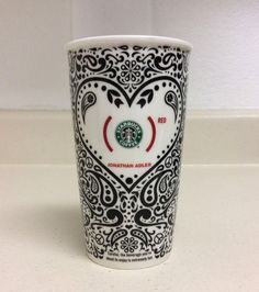 Starbucks 2010 Jonathan Adler RED Ceramic 12oz Coffee Travel Mug NO LID #StarbucksCoffee #JonathanAdler