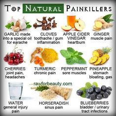 Top All Natural Pain Killers pain fruits vegetables health healthy living remedies remedy healthy lifestyle all natural pain killers Natural Health Remedies, Natural Cures, Natural Healing, Herbal Remedies, Natural Treatments, Natural Oil, Natural Foods, Natural Products, Holistic Healing