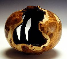 Turned wood hollow vessel: English Yew root