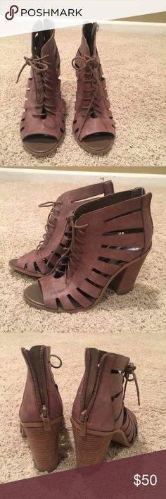 BCBGeneration Heels These are adorable! Great brown color, perfect for fall! Open toe and cage like features make these shoes adorable! They lace up the front but also have a zipper in the back. Heel is about 3 inches. Size 9 BCBGeneration Shoes Heeled Boots